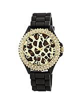 "Golden Classic Women's 2220_leopardblack ""Glam Jelly"" Oversized Rhinestone Leopard Silicone Watch"
