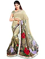 Shree Bahuchar Creation Women's Chiffon Saree(Skb14, Cream)
