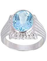925 Sterling Silver & Natural Faceted Blue Topaz Gemstone Men's Ring