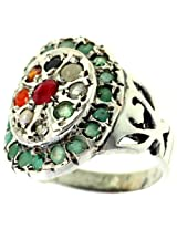 Navaratna Ring with Emerald Border - Sterling Silver