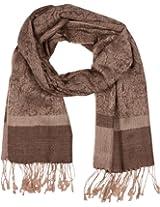 "Sakkas 70"" x 28"" Paisley Self-Design Shawl / Wrap / Stole - Chocolate/ Brown paisley"
