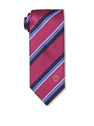 Versace Men's Striped Tie, Burgundy/Black/Blue