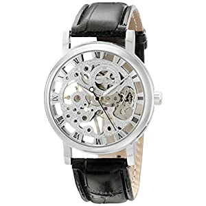Mens Mechanical Skeleton Watch Hand Wind Up Silver Dial Black Leather Strap MW-07