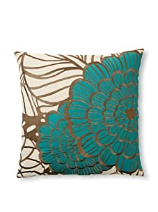 Trina Turk Embroidered Jungle Bloom Pillow (Gray/Blue)
