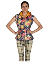 Rajrang Women's Floral Printed Short Cotton Quilted Reversible Jacket (Yellow, Blue, Large)