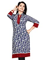 Anarkali Long Printed Embroidery Kurtis(Size : X-Large)