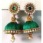 ELEGANCE Green Fabric Traditional Jhumki Earring