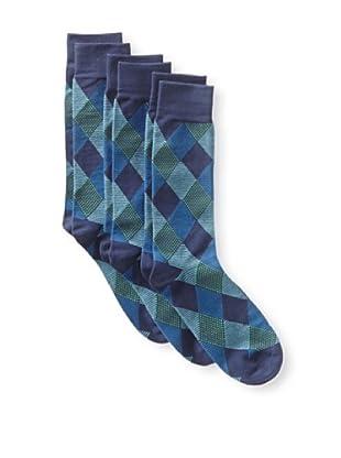 2xist Men's Dress Crew Socks Diamond Argyle - 3 Pack (Blue/Navy)