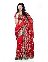 Shariyar Red Georgette Saree PRG326