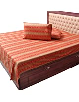 Little India Traditional Sanganeri Print Cotton Double Bedsheet with 2 Pillow Covers - Red  (DLI3DBS502)