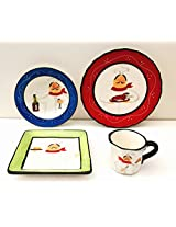 Tuscany Plump Chef Colorful Hand Painted Ceramic 16pc Dinner ware set, 89116 by ACK