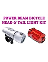 Power Beam (Silver) LED Head & Tail Light Kit For Bike Bicycle Cycle Torch Headlight Lamp