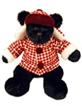 "Purr-Fection Duncan Black Bear 12"" Plush with Lumberjack Outfit"