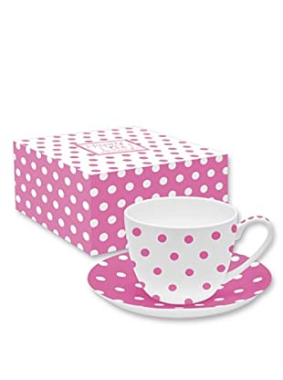 Easy Life Design Tazza Colazione con Piatto in Porcellana Bone China Happy Pois (Rosa)