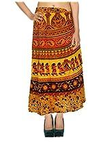 Rajrang Cotton Floral Printaed Long Skirt Open Waist Wraparound