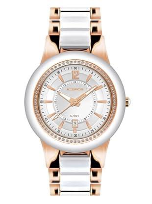 K&BROS 9180-3 / Reloj de Señora  con brazalete metálico blanco