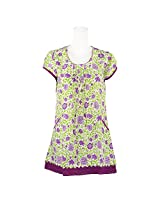 Pooja Greeen & Purpale Color Self Print Cotton Short Kurti For Women