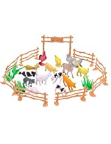 Ideal Christmas Gift Happy Cherry Plastic Sheep, Chickens, Cats, Cows, Rabbits, Geese, Dogs, Ducks, Horses, Pigs, Fence, Grass Small Figure Toy Model Set Kids Toy Multi Color Pack Of 15
