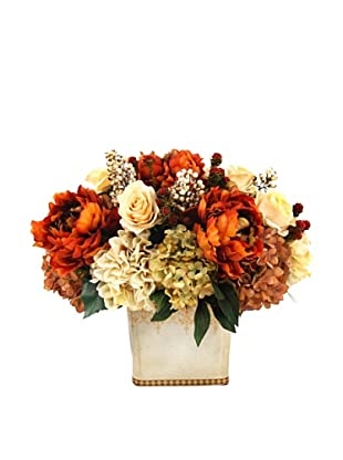 Creative Displays Cream & Rust Peony & Hydrangea Floral in Ceramic