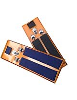 Sunshopping men's Navy blue and Black suspender(WSDWSDSC00016) (blach and red)