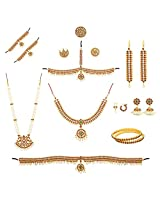 Kemp Multi-Colour Metal Bharatanatyam Dance Full set For Women and Kids(10 items)