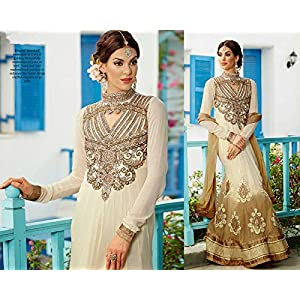 Georgette Embroidered Beige Semi Stitched Wedding Gowns - 23814