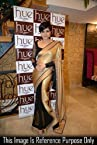 Bollywood designer party wear Mandira bedi beige balck saree