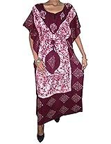 Indiatrendzs Wine Red Kaftan Printed Nighty Free Size Sexy Nightwear