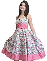 Ivory and Pink Barbie Dress with Printed Flowers - Pure Cotton [Apparel]