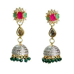 Daamak Jewellery Red And Green Cubic Zircon Jhumka