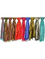 Exotic India Lot of Ten Pure Silk Scarves with Tanchoi Weave - Multi-Coloured