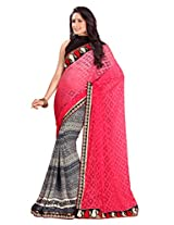 Texclusive women's printed work saree with blouse piece