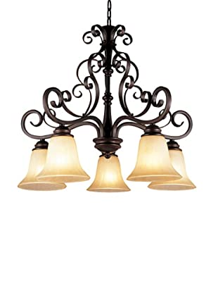 TransGlobe Garland 5-Light Chandelier with Down-Lights, Oil-Rubbed Bronze