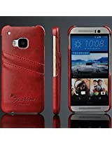 [For HTC ONE M8 ] Arcraft(TM) Luxury Genuine Leather Ultra Slim / Slip Card Holder / Premium Bright Leather Wallet Case Cover