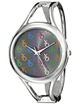 XOXO Women's XO1084 Colorful Dial Silver-tone Bangle Watch