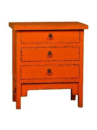 Antique Revival 3-Drawer End Table, Orange