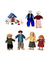 Dollhouse Doll Family, Grandparents, and Pets with Accessories Sets