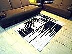 JOJO DESIGNS Imported leather / polyester shaggy carpet headset backing black&white RH23, 4feet X 6feet