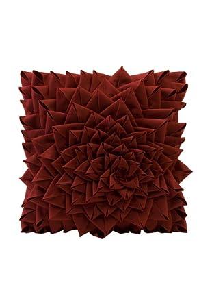 Fontella Hand-Sewn Felt Rose Pillow, Red