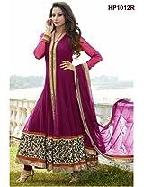 VandV Rani Pink Designer Long Net Anarkali Suits