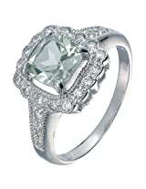 Sterling Silver Green Amethyst Ring (1.10 CT) In Size 16