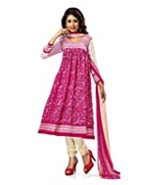 Jevi Prints Pink & Beige Art Crepe Dress Material with Dupatta