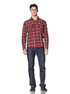 ONE90ONE Men's Red Hot Flannel Shirt (Red)