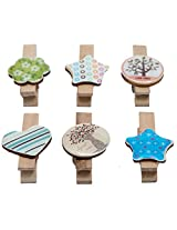 Wooden Clips Set of 6 Decorative Colour Full ...collection Heart Tree