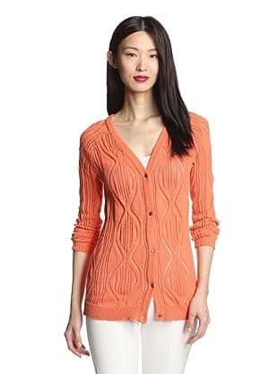 SVEE Women's Open Stitch Knit Cardigan (Tangerine)