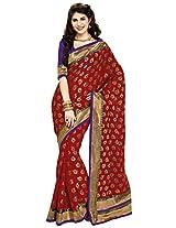 Aadarshini Women's Brasso & Net Saree (110000000067, Red)