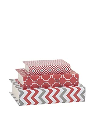 Essentials Set of 3 Canvas Book Boxes, Coral