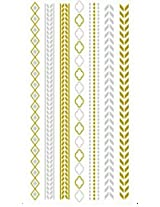 Metallic Gold, Silver Black Jewelry Inspired Temporary Bling Tattoo by Eufouria Inc. YW-037