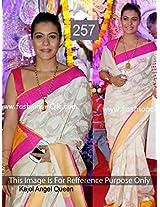 Nyalkaran Kajol White And Pink Cotton Silk Embroidery Designer Saree