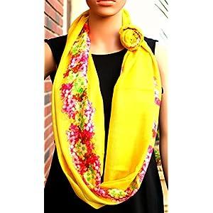 Insyync Modal Silk Yellow Floral Scarf